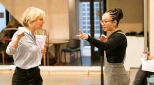 Scene setter … Linton, right, rehearses with Martha Plimpton for Sweat.