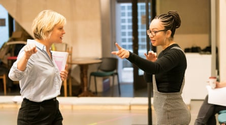 Scene setter … Linton, right, rehearses with Martha Plimpton for Sweat.