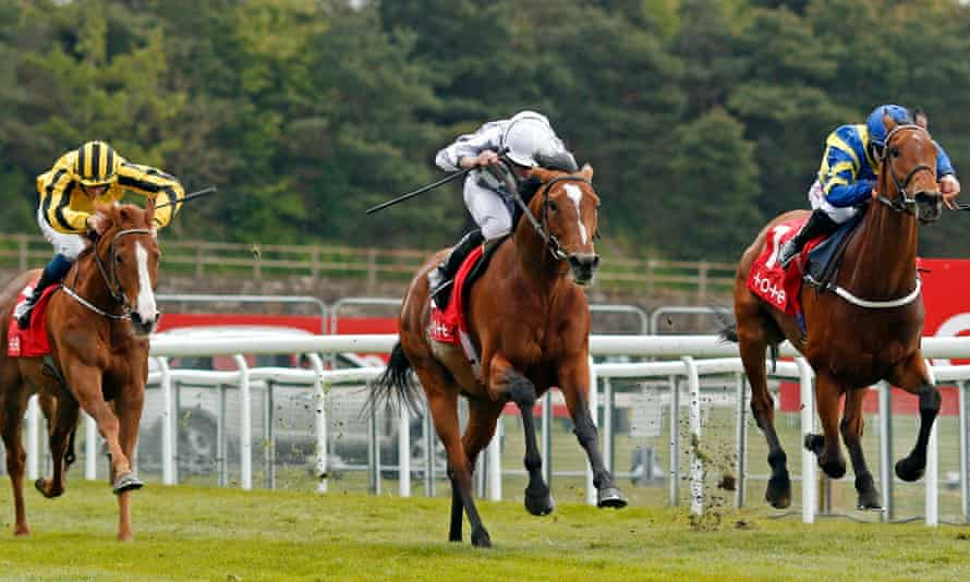 Japan (centre, Ryan Moore) beats Trueshan (right) in the Group Three Ormonde Stakes at Chester