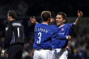 Jamie Clapham celebrates with Matt Holland after scoring against Sunderland in 2001.