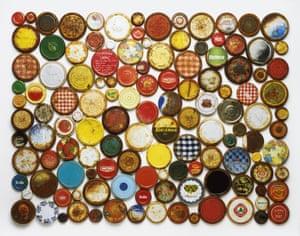Metal jar lids Stuart Haygarth photo arrangement