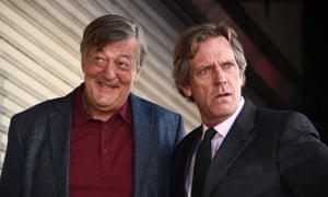 Actors Stephen Fry and Hugh Laurie attend Laurie's Star ceremony on The Hollywood Walk of Fame.