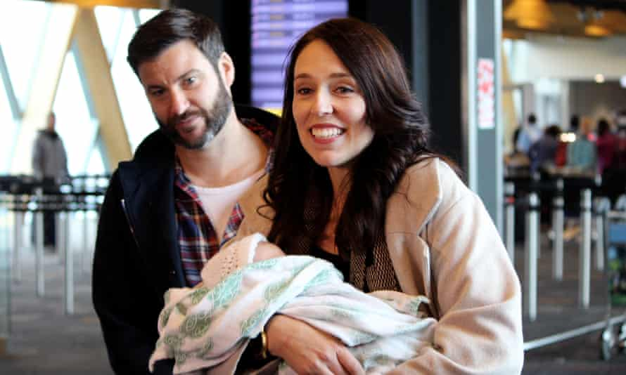 New Zealand Prime Minister Jacinda Ardern with her daughter Neve and partner Clarke Gayford earlier this summer.