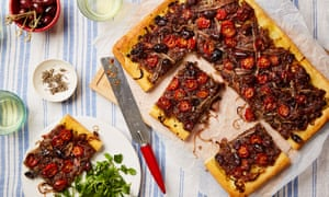Thomasina Miers' pissaladière with oven-dried tomatoes, olives & anchovies.