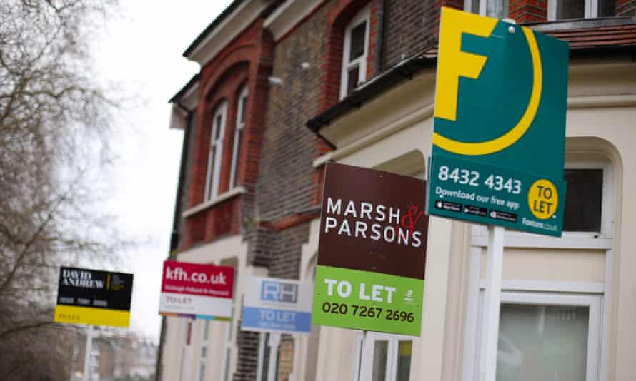 To Let estate agent signs placed outside houses