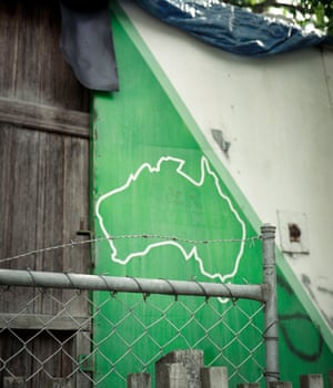 Map An outline of Australia on the side of a shed, The Pines
