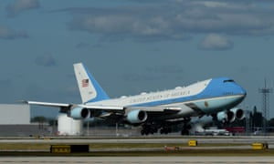 Air Force One arriving at Palm Beach, Florida, with Donald Trump on board for the last time as president.