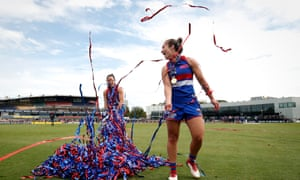 Western Bulldogs players celebrate AFLW victory