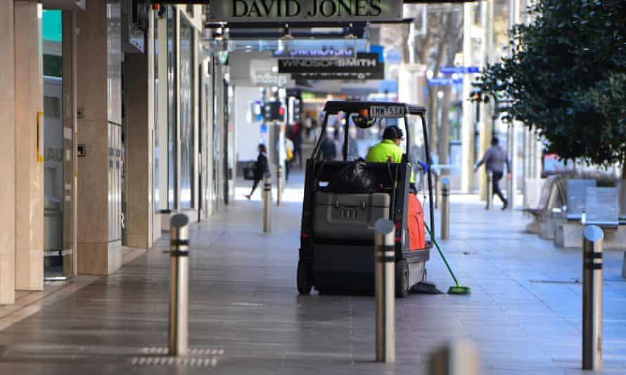 A street cleaner on Bourke Street in Melbourne