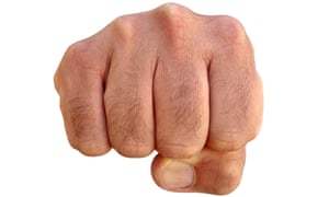 Very hairy knuckles from the fist of a furry man.<br>BNT9X5 Very hairy knuckles from the fist of a furry man.