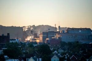 Sunrise over factories in the city's Braddock neighborhood.