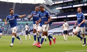 Everton's Dominic Calvert-Lewin celebrates scoring.