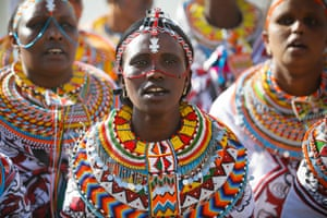 Nairobi, KenyaMaasai women dance as they welcome the United Nations secretary-general, António Guterres, at an event to celebrate the International Women's Day