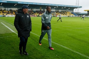 West Brom manager Tony Pulis and Saido Berahino before a pre-season friendly against Torquay.