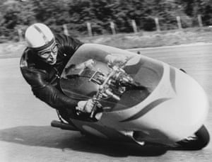 John Surtees practicing at Monza in 1957.