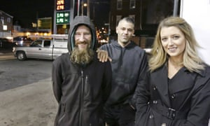 Johnny Bobbit, the homeless man, with the couple, Kate McClure and Mark D'Amico.