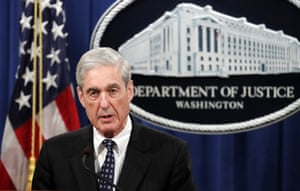 Special counsel Robert Mueller speaks at the Department of Justice in Washington.
