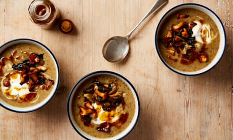 Thomasina Miers' easy recipe for potato, leek and wild mushroom soup with chipotle oil