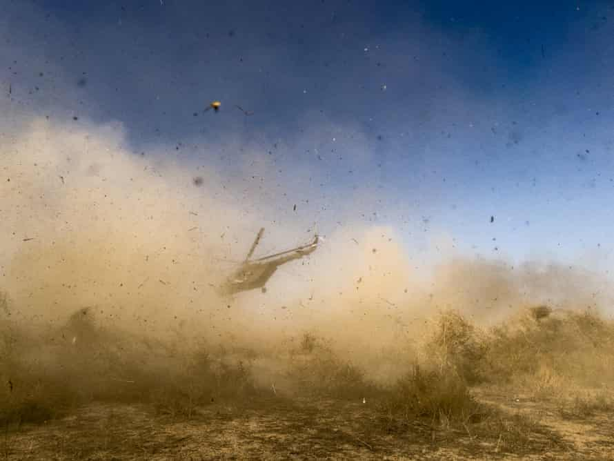 An Iraqi army helicopter takes off.
