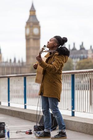 Sherika Sherard busking in London.