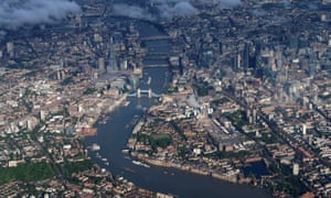 Tower Bridge and the City of London from the air.