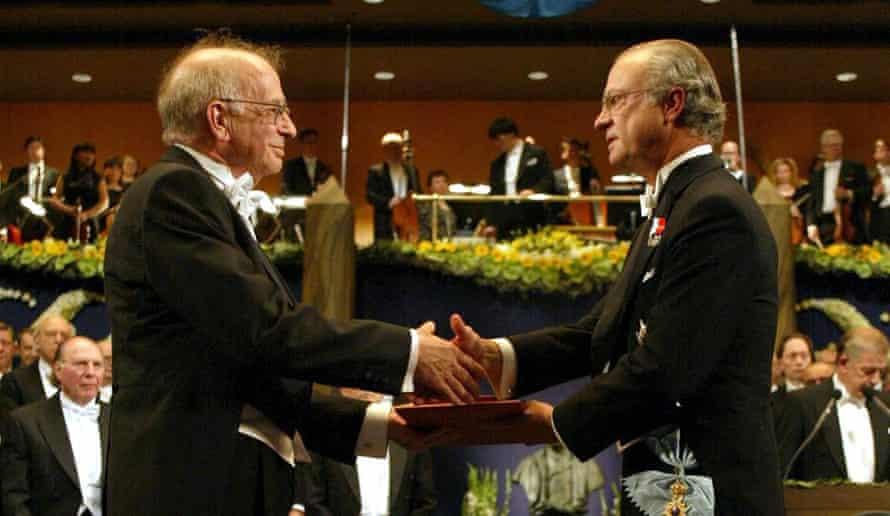 Daniel Kahneman receives the Nobel Memorial prize in Economic Sciences from King Carl Gustaf of Sweden in Stockholm, 2002.