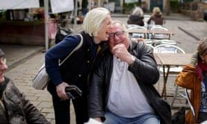 Lib Dem candidate Tessa Munt chats with Danny Elliott in Wells Market Place