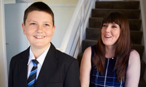 Linda Greenwood with her son, Charlie, in his new school uniform.