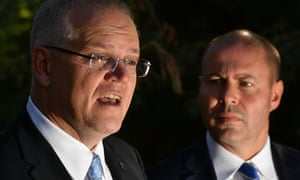 Prime minister Scott Morrison and treasurer Josh Frydenberg on the campaign trail in Melbourne.
