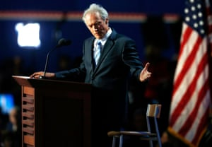 Clint Eastwood addresses an empty chair.