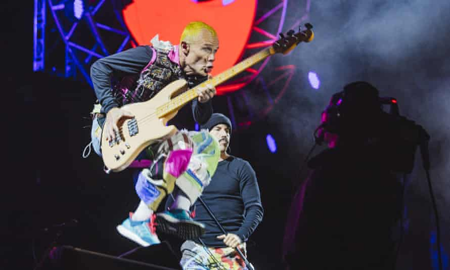 'Slappiest of bass-slappers' … Flea of Red Hot Chili Peppers takes to the air.
