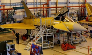 Staff work on the Eurofighter Typhoon at BAE Systems' Warton plant near Preston.