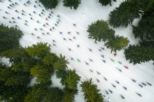 A Shoal of Colorful Fish. The Drone awards photographer of the year for 2019 was awarded to Jacek Deneka, a photographer from Poland who captured cross-country skiers during the 50km classic race, the main competition of the Bieg Piastow Skiing festival organised in Jakuszyce, Poland.