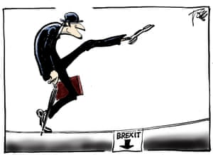 Tom Jannsen's cartoon of a bowler-hatted man doing the Monty Python silly walk towards a hole marked 'Brexit'.
