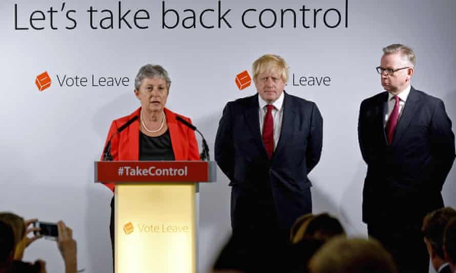 Gisela Stuart speaks as Michael Gove and Boris Johnson listen on.
