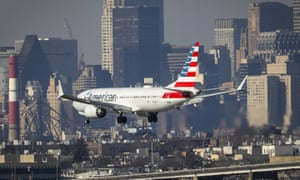 An American Airlines Boeing 737 Max 8 lands at LaGuardia airport in New York.