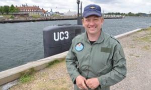 Peter Madsen in front of his homemade submarine in Copenhagen, Denmark