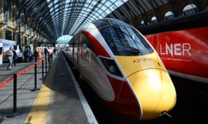 One of LNER's new Azuma trains at King's Cross station in London.