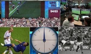 (Clockwise from top left) The big screen shows why a Raheem Sterling goal was disallowed against West Ham; Stockley Park's VAR Hub; Marco Tardelli celebrates scoring for Italy in the 1982 World Cup Final; the Countdown clock; France's Zinedine Zidane headbutts Italy's Marco Materazzi during the 2006 World Cup final.