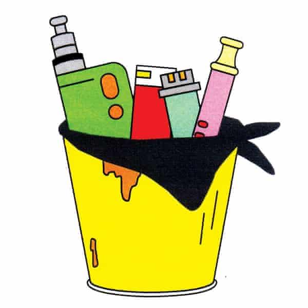 vaping supplies in trash