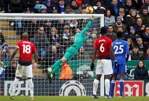 David de Gea makes a save from a free-kick
