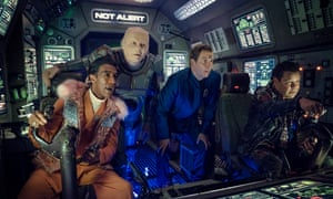 The cast of Red Dwarf: The Promised Land, from left: Danny John-Jules as Cat, Robert Llewellyn as Kryten, Chris Barrie as Rimmer and Craig Charles as Lister.