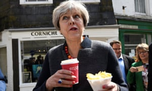 May on a walkabout during an election campaign stop in Mevagissey, Cornwall, 2017.