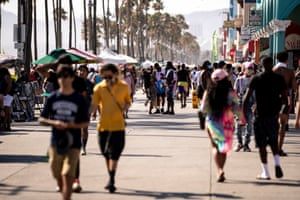 Venice Beach during a heatwave amid the coronavirus pandemic, in Los Angeles on 11 July.