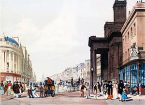 Painting: Regent Street Looking Towards the Quadrant by TS Boys (1842).