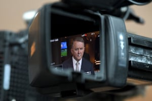 Sydney, Australia The leader of the opposition, Anthony Albanese, is seen on the back of a camera as he speaks to the media during a press conference.