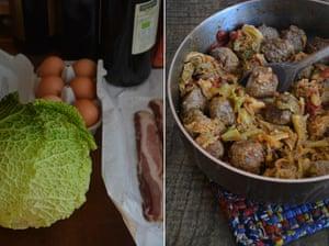 Rachel Roddy's winter meatballs with cabbage
