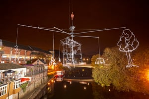 Drawn in Light, by Ralf Westerhof, suspended over Elvet Bridge. The installation is constructed from steel and features an Amsterdam canal building surrounded by tranquil elements of daily life