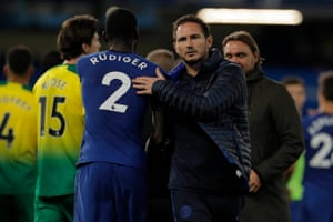 Frank Lampard with Rudiger after Chelsea's 1-0 win.