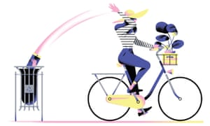 Illustration of woman on bike throwing news into bin